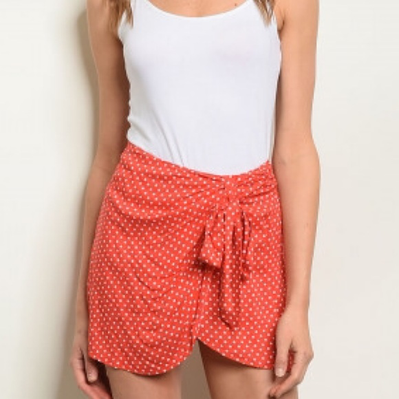 etophe studios Pants - NEW! Red and White Polka Dot Skort w/Tie Front